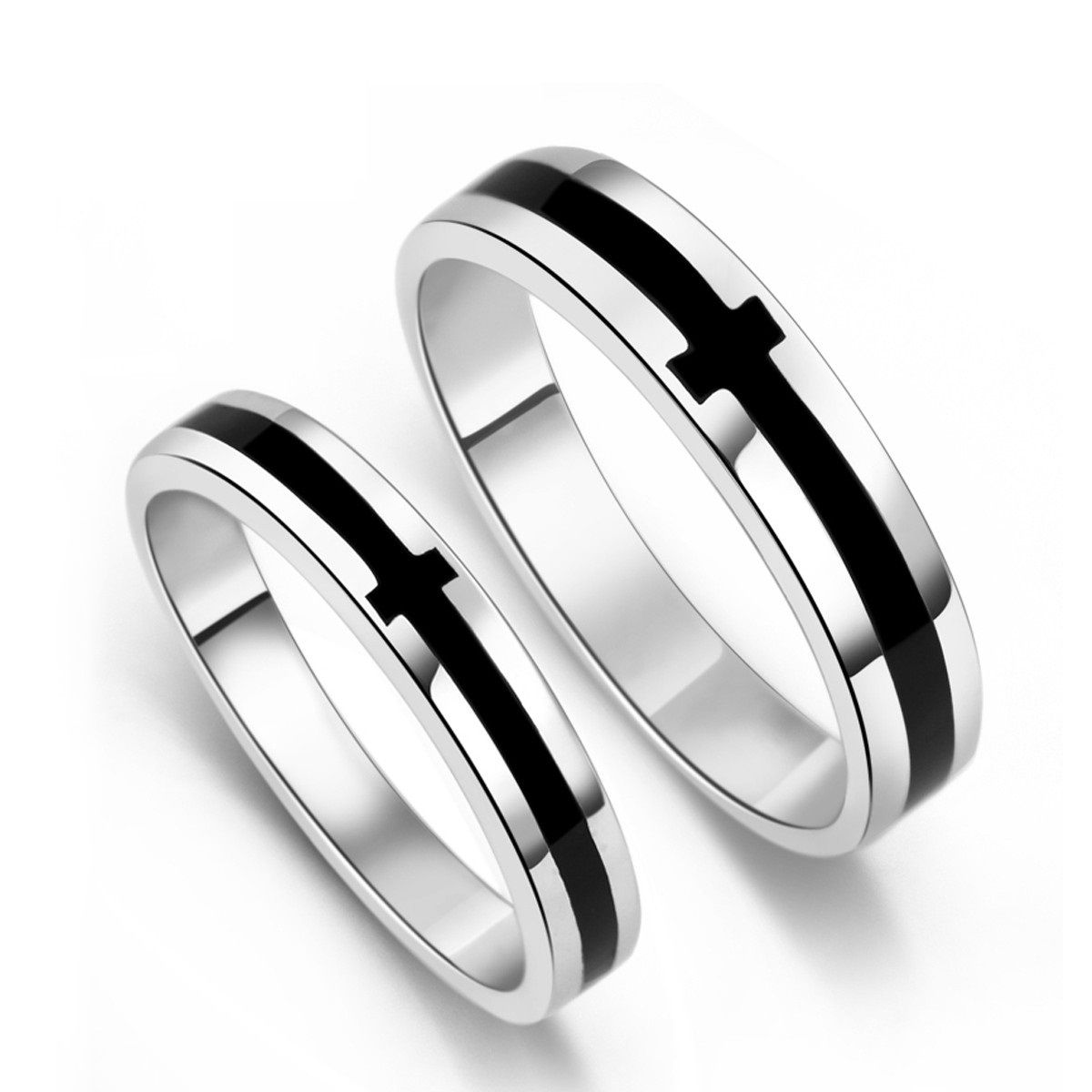 Black yx S925 Sterling Silver Mens La s Couple Promise Ring Wedding Bands