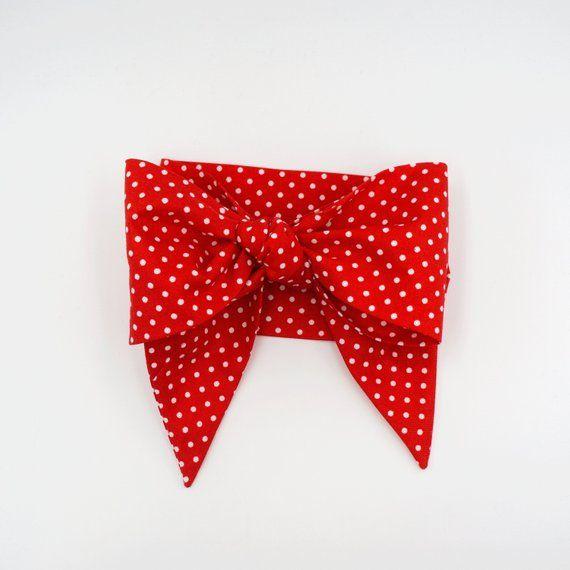 Red polka dots hair scarf headband •  RED MINI DOTS #headwrapheadband