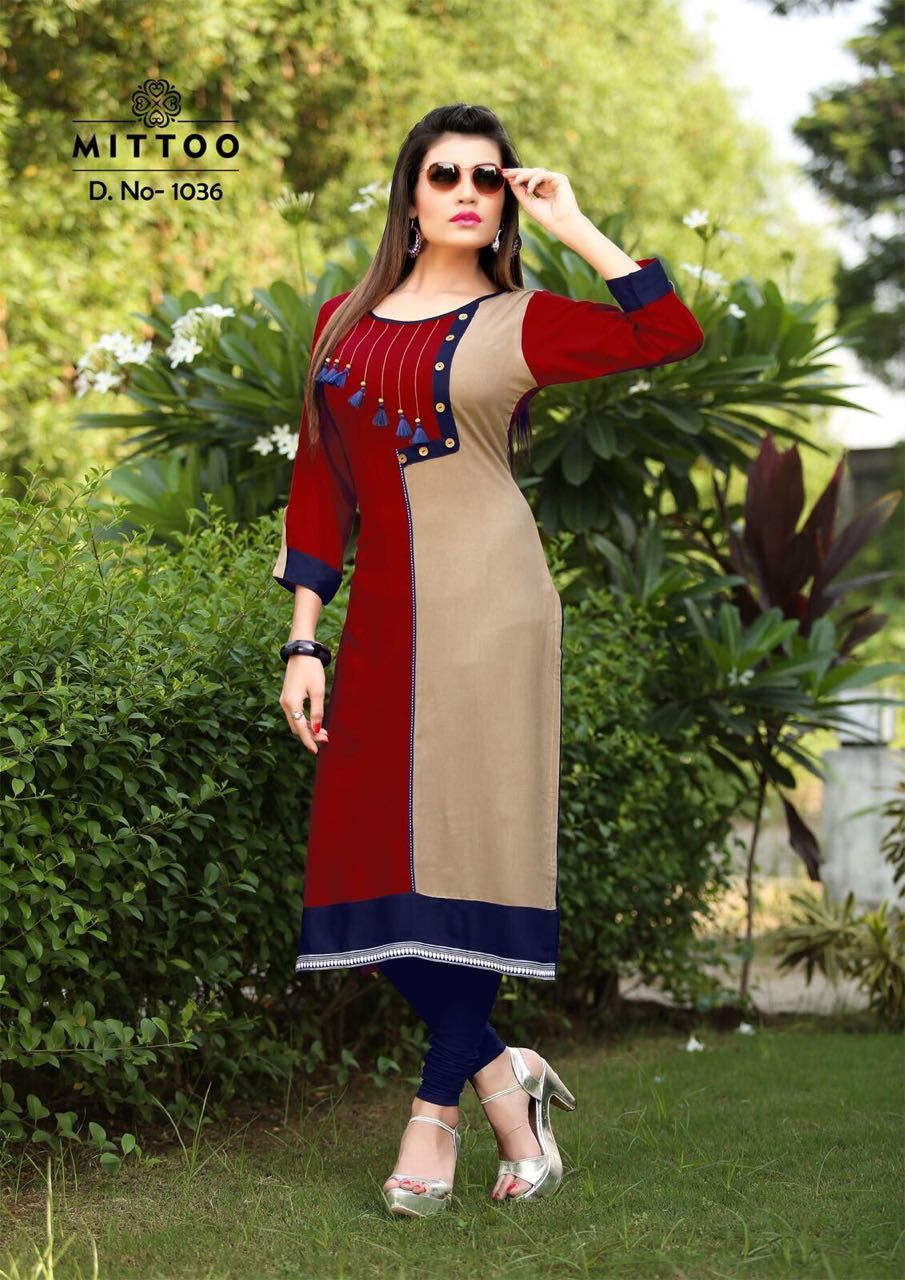 6b2dd09304 Mittoo Palak Vol-2 Heavy Rayon Kurtis ( 8 pc catalog ) | Mittoo ...