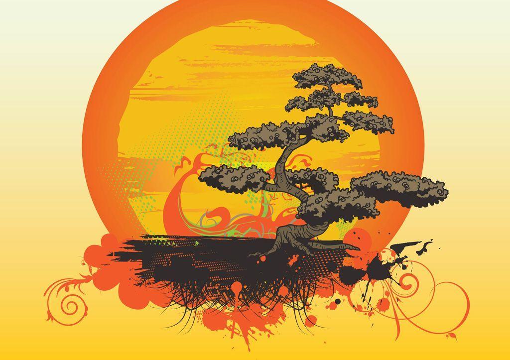 Resultado De Imagem Para Por Do Sol Vector Gueixa Bonsai Tree Tattoos Japanese Tree Bonsai Art