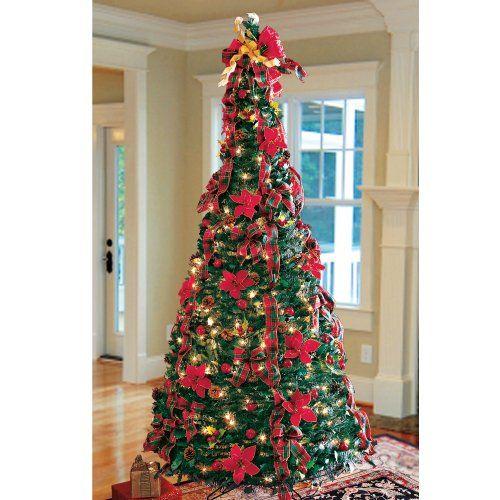 Prelit Art Christmas Trees - Plaid Pull-up Tree - Prelit Art Christmas Trees - Plaid Pull-up Tree Christmas Trees