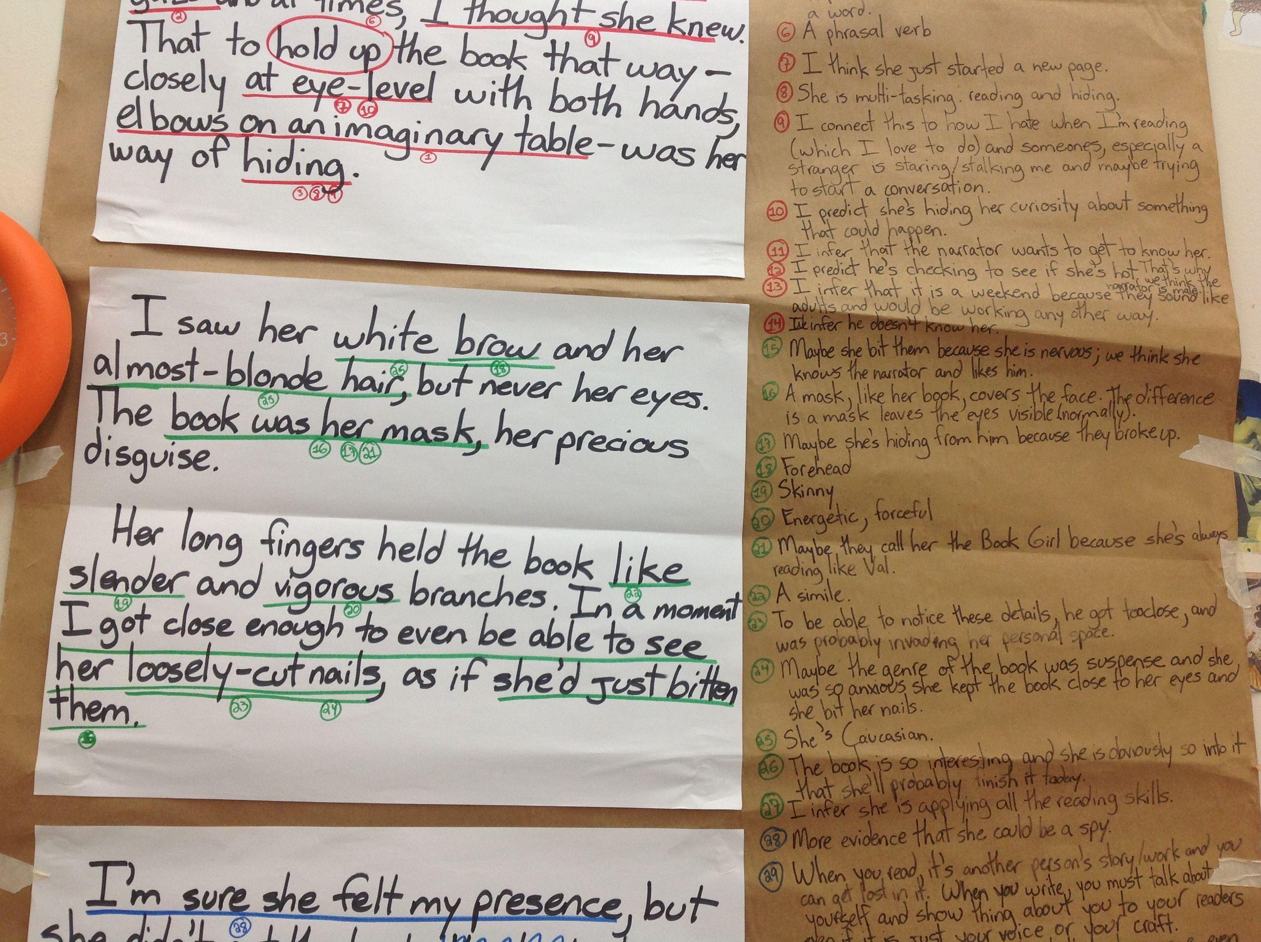 Close up of part of Valerieu0027s literary