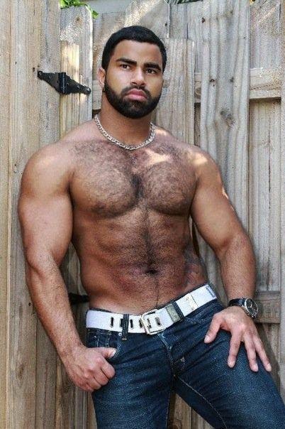 Hairy muscle black men
