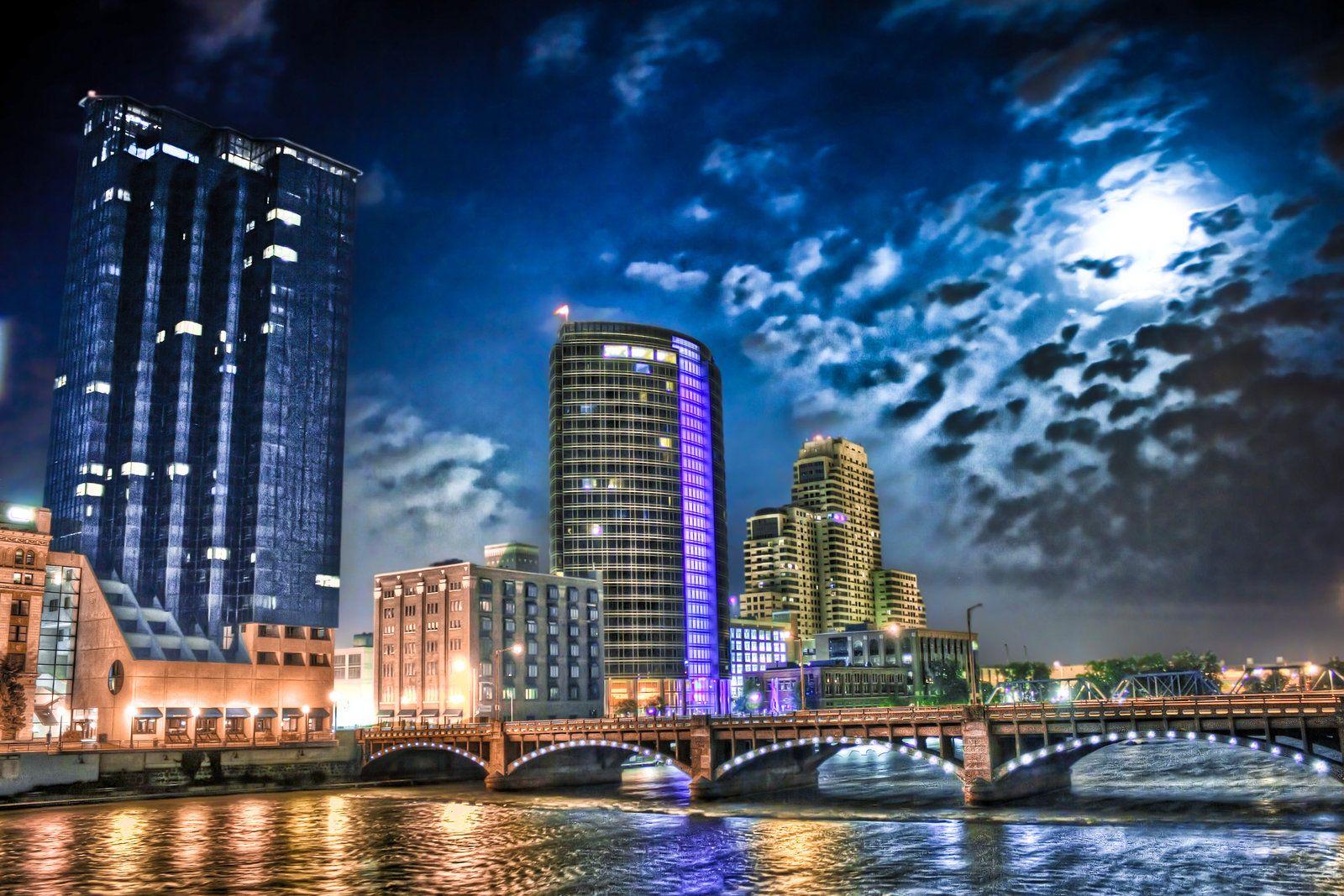 Grand Rapids, MI lit up at night | pure michigan ...