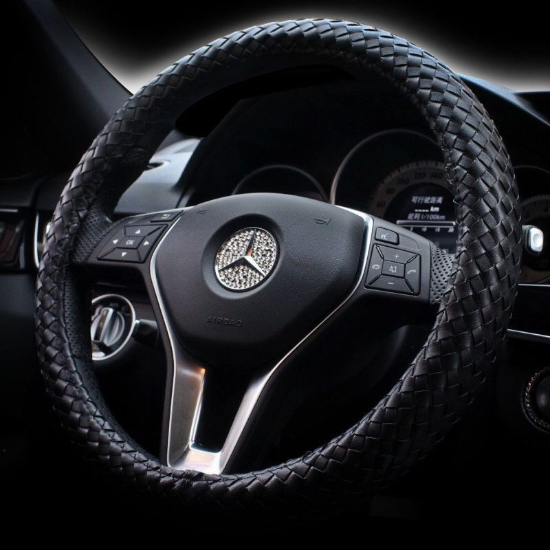 Steering Wheel Cover Blue//Black Soft Leather Look Comfort Grip For Mazda