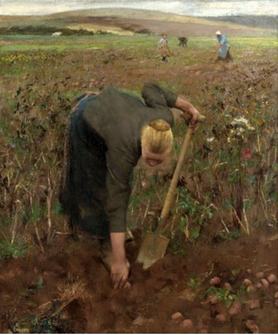 "George Clausen, "" Gathering potatoes"" (1887)"