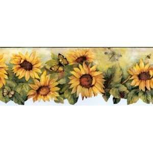 Wonderful Sunflowers And Tin Stars Wallpaper Border