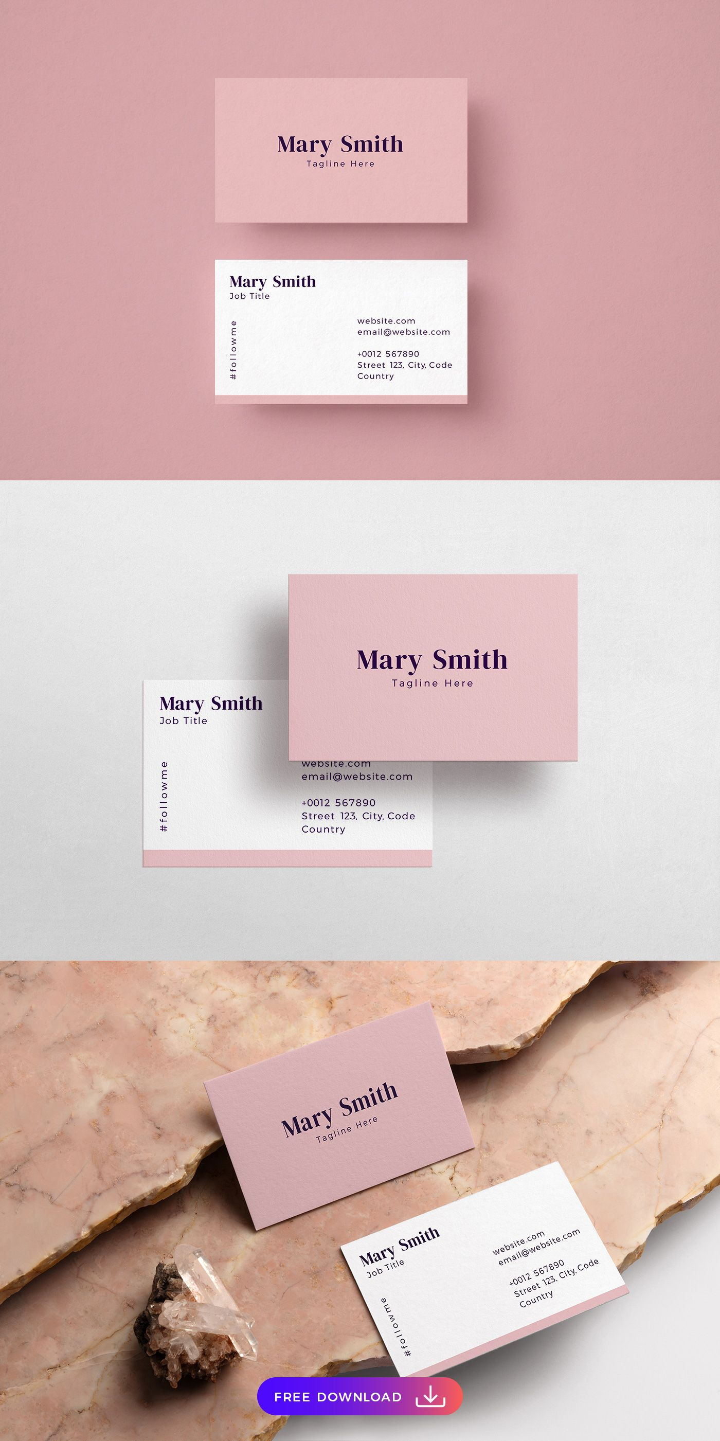 Free Pink Classic Business Card Template Classic Business Card Free Business Card Templates Business Card Template