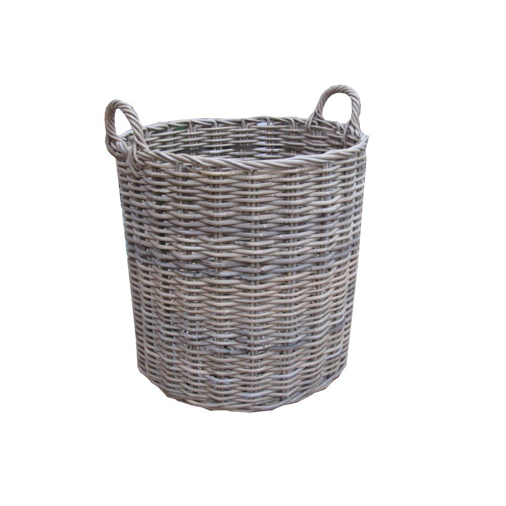 Grey Amp Buff Rattan Round Wicker Log Basket Grey Wicker