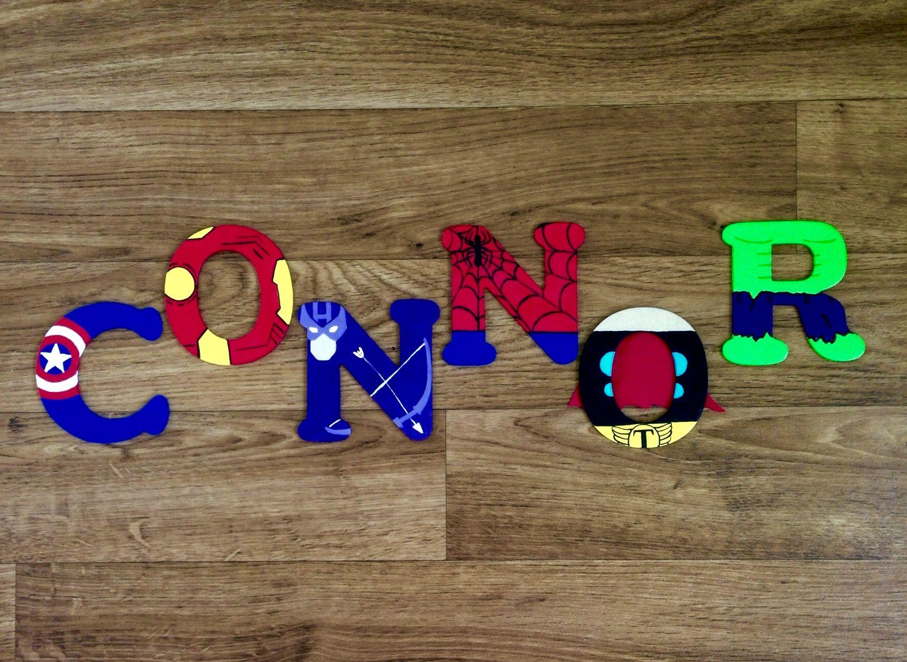 Connor Wooden Superhero Letter Captain America Ironman