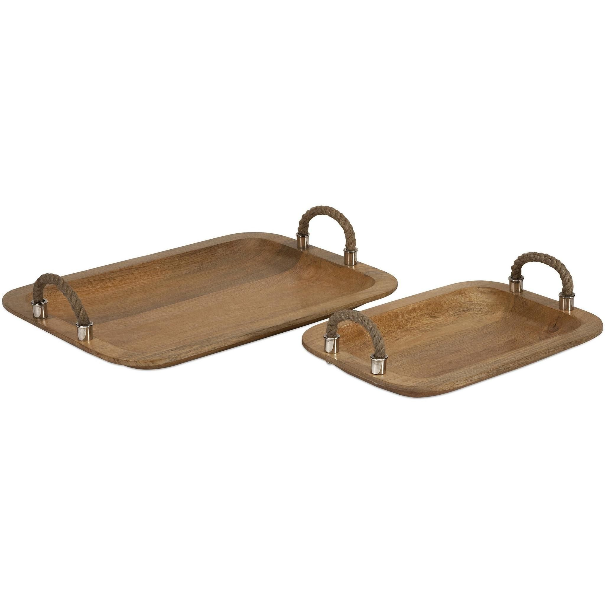 Wooden Trays To Decorate Glamorous Tabari Wood Trays With Jute Handle  Set Of 2  Products Design Inspiration