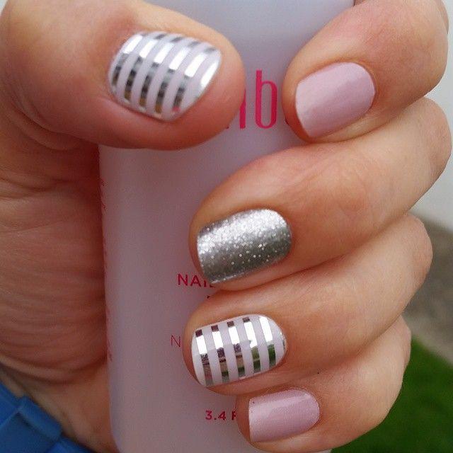 Jamberry Nail Wraps. Whiteout layered with Metallic Silver Pinstripe, Daydream & Diamond Dust Sparkle. Shop now: Megecon.JamberryNails.Net