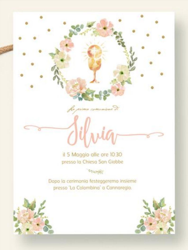Invito Prima Comunione Invio Whatsapp Invito Comunione Digitale Biglietto Comunione Da Stampare Invito Comunione Bambina Fiori Oro E Rosa In 2020 Birthday Goals Communion First Communion