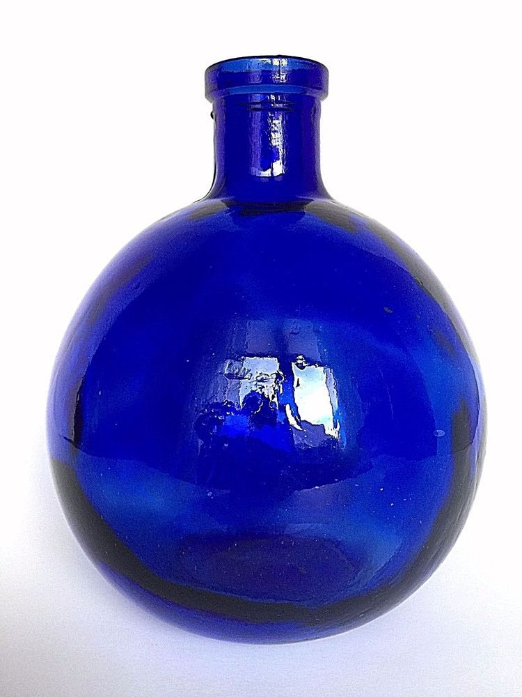 Hand Crafted Cobalt Blue Glass Round Bottle Vase Made In Spain