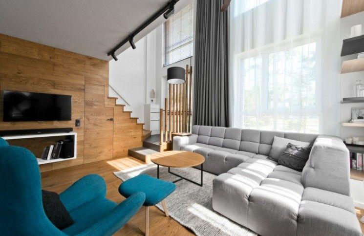 skandinavischer stil grau holz verkleidung wand fernseher - wohnzimmer ideen modern