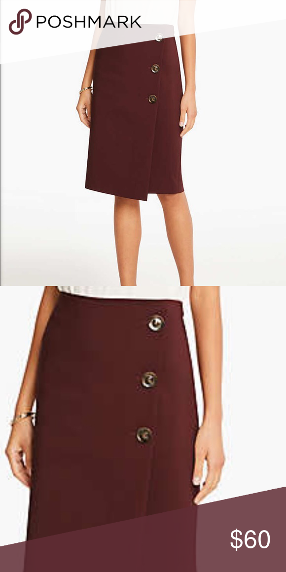 2fc0b5a8b Ann Taylor Button Skirt✨ WORN ONCE!!! Beautiful burgundy midi pencil wrap  skirt with large tortoise buttons down the side! Perfect condition, side  12🙌🏼!