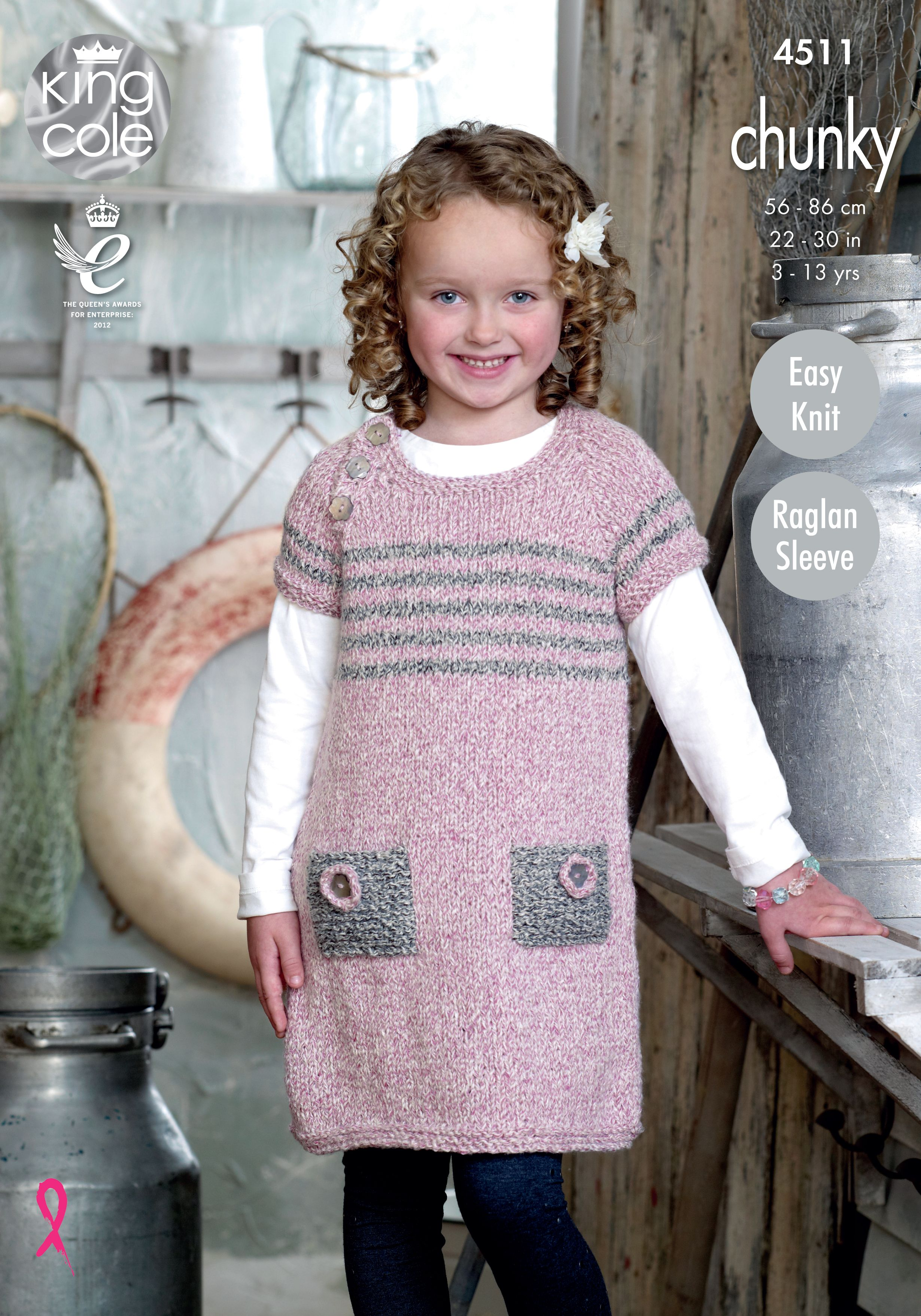 c3c8859472d080 Childrens knitted tunic pattern. Authentic chunky soft marl shade - King  Cole