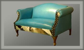 Albuquerque Turquoise Leather Settee @ Western Passion
