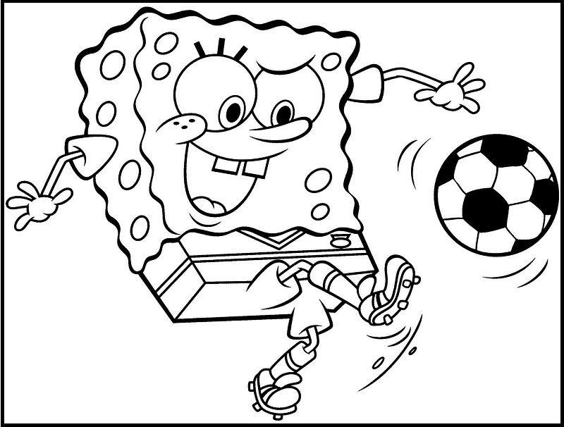 Spongebob Squarepants Kick A Ball coloring picture for kids ...
