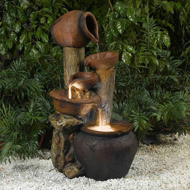 Jeco Pentole Pot Illuminated Water Fountain (Glass), Outdoor Décor ...