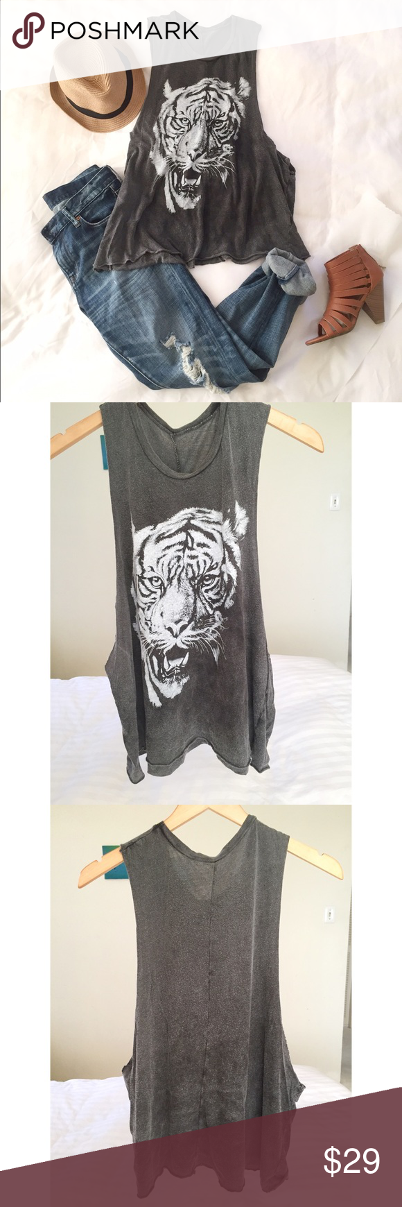 54b5bbfd NWOT Brandy Melville Grunge Muscle Tee NWOT Dark gray tiger face print  grunge/distressed muscle tank. Super soft and comfy! 60% Cotton 40%  Micromodal ...