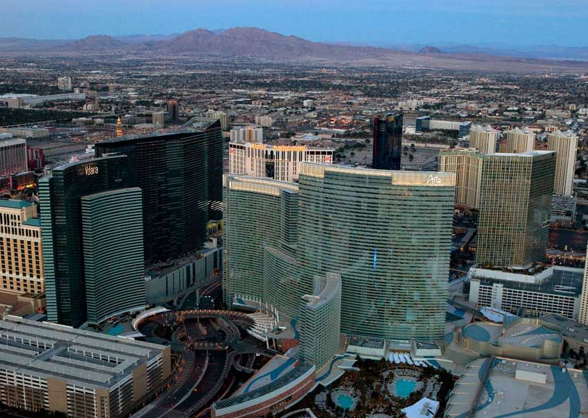 Aerial View Of Mgm City Centre With Aria And Vdara Las Vegas
