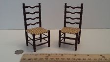 Artisan Dollhouse Miniature Set of Chairs Handmade Wood Chair Woven Seats Cute!