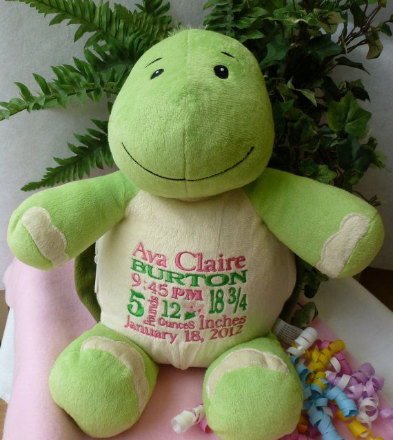Personalized baby gift monogrammed baby gift embroidered plush the turtles will be arriving this week personalized baby gift monogrammed turtle by worldclassembroidery 3799 negle Gallery