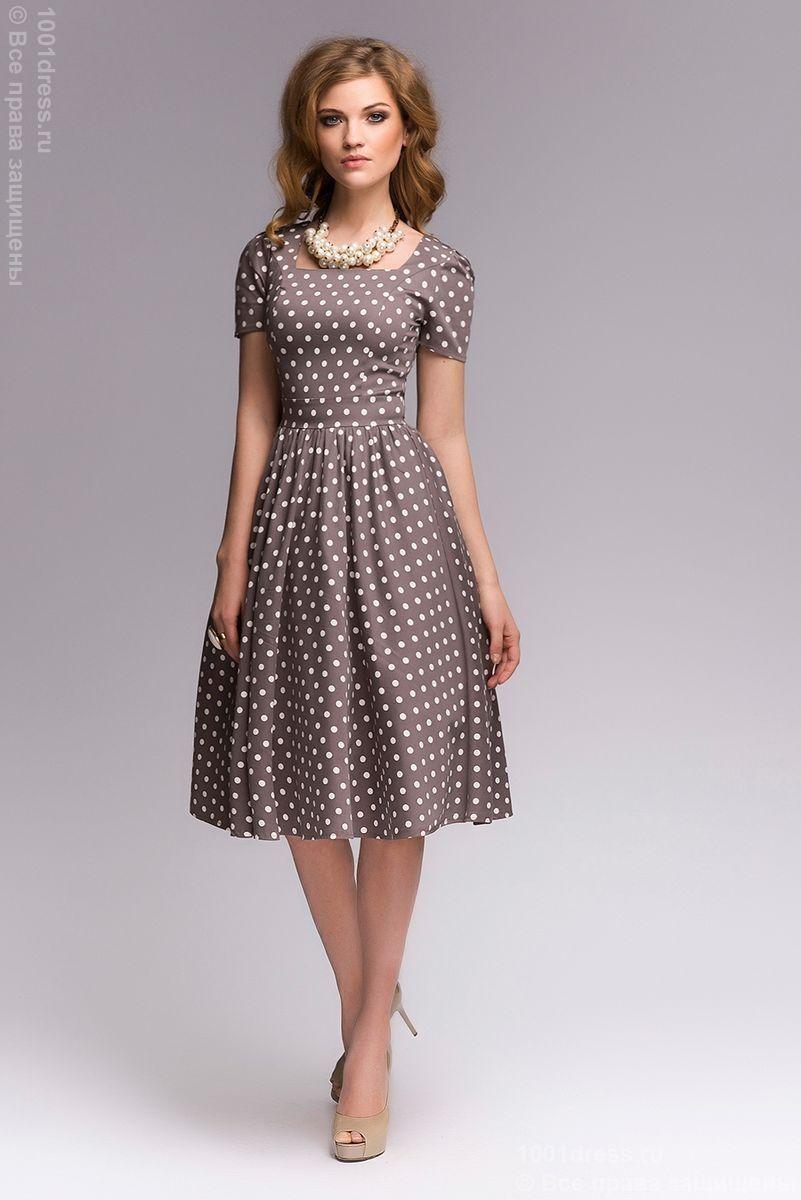 d792cd70287 Платье бежевое в горошек в ретро-стиле