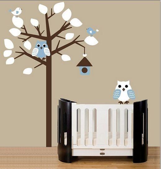 boom met uiltjes blauw wit - muurstickers babykamer & kinderkamer, Deco ideeën