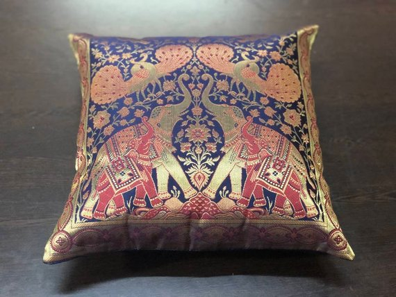 "Pink Elephant Cushion Covers 40cm 16/"" INDIAN Handmade Cotton Golden Embroidered"
