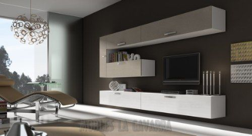 Mueble living modular lcd moderno tv comedor progetto for Muebles salon minimalista