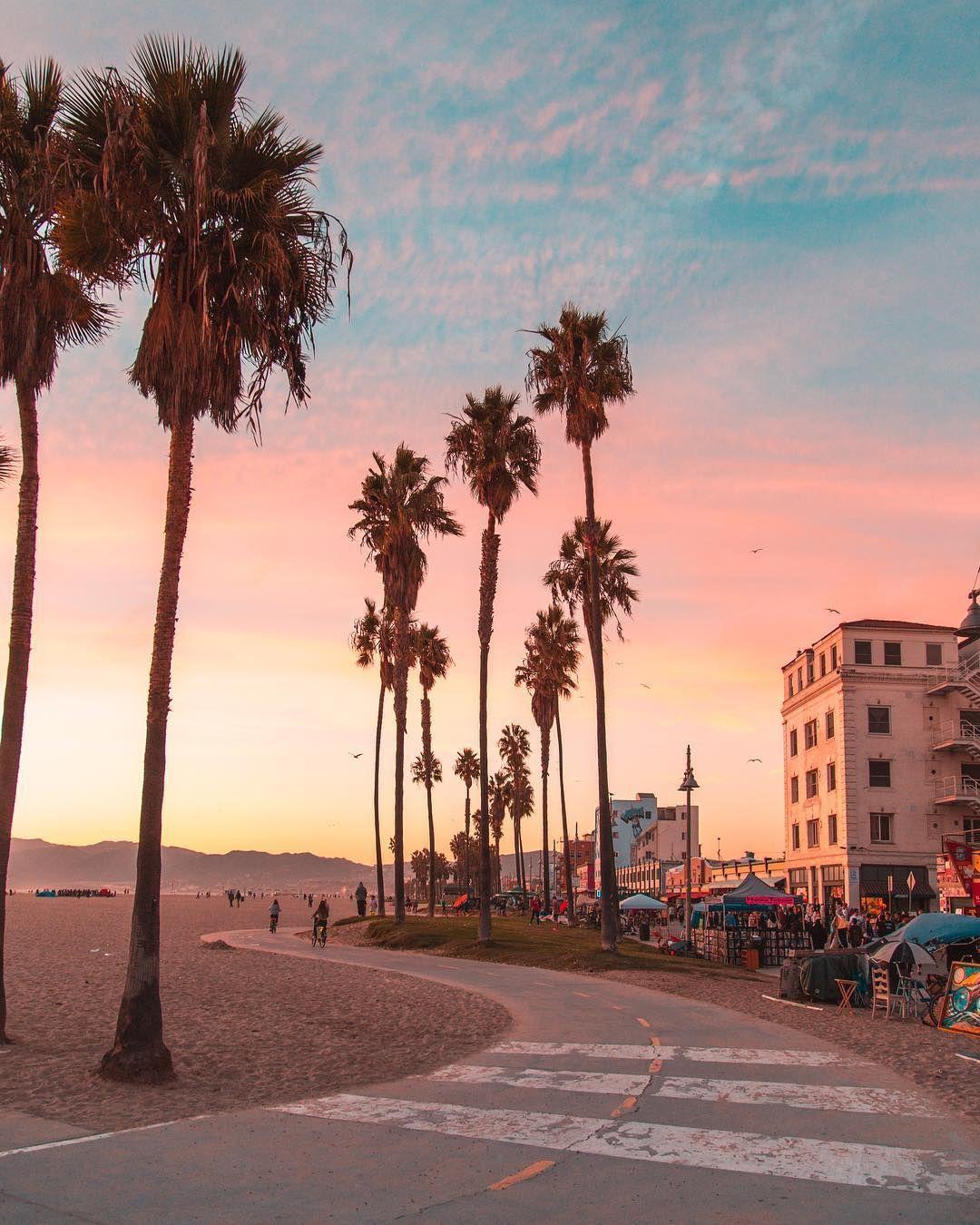 Pink Sunset At Venice Beach, Los Angeles, California
