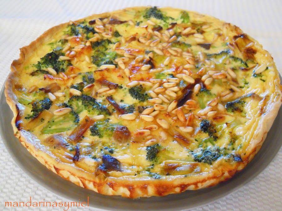 Quiche de ajos tiernos, setas y brócoli | Cocina