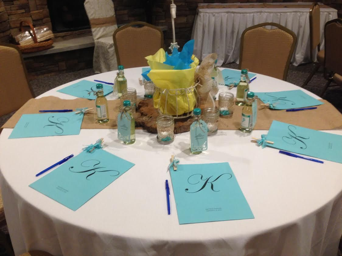 teal and yellow bridal shower at olivias banquet facility in pittsburgh pa