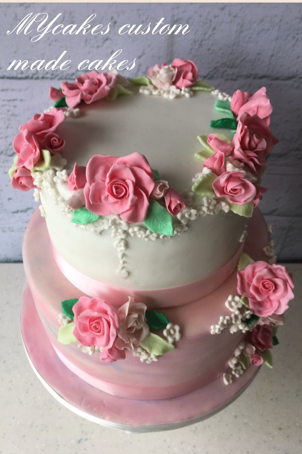 Pretty In Pink Rose Birthday Cake Mycakes Custom Made Cake And