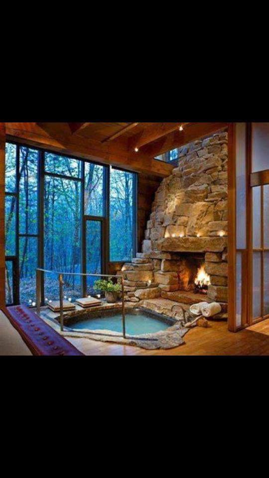 Indoor bath with an outdoor look