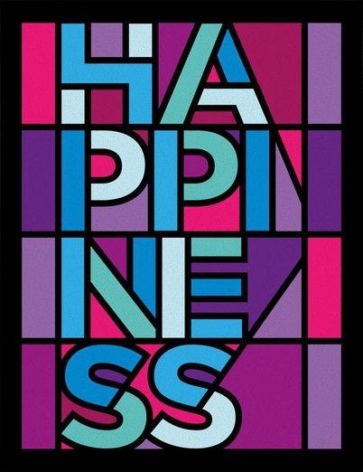 HAPPINESS - STAINED GLASS - UrbanArts (papel matte - 36 x 47,5 - moldura preta lisa) - R$ 228