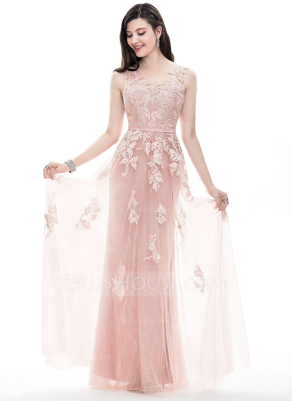 Vestidos princesa/ Formato A Decote redondo Longos Tule Vestido de ...