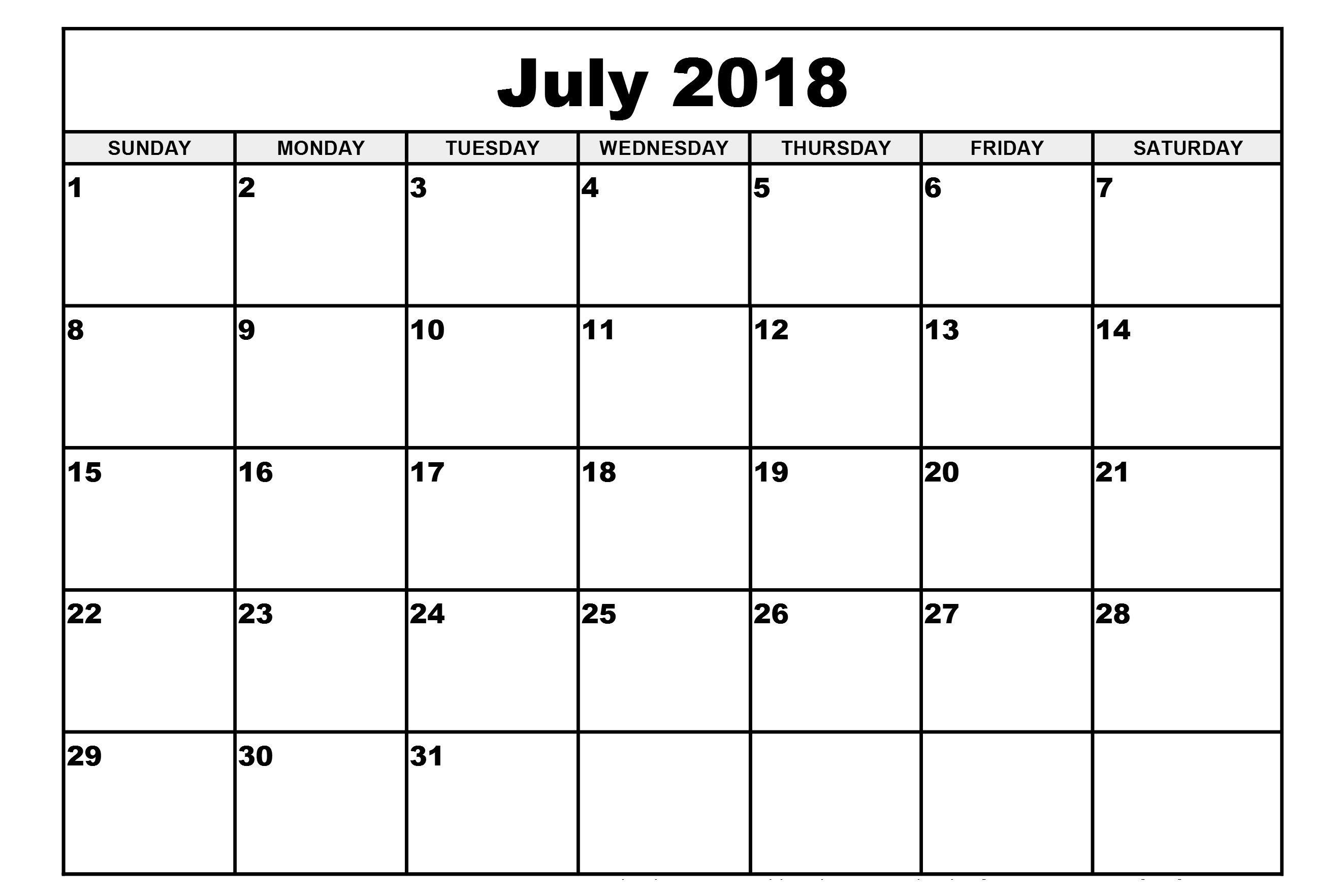 Decorative July 2018 Calendar July 2018 Calendar Pdf Word Excel