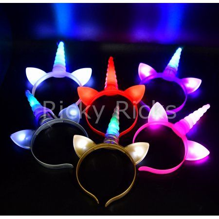 Buy 12 Flashing Unicorn Headbands Light Up Ears Costume Horn Party Favors  Magical Recuerdos Unicornio at Walmart.com 7d16431330e