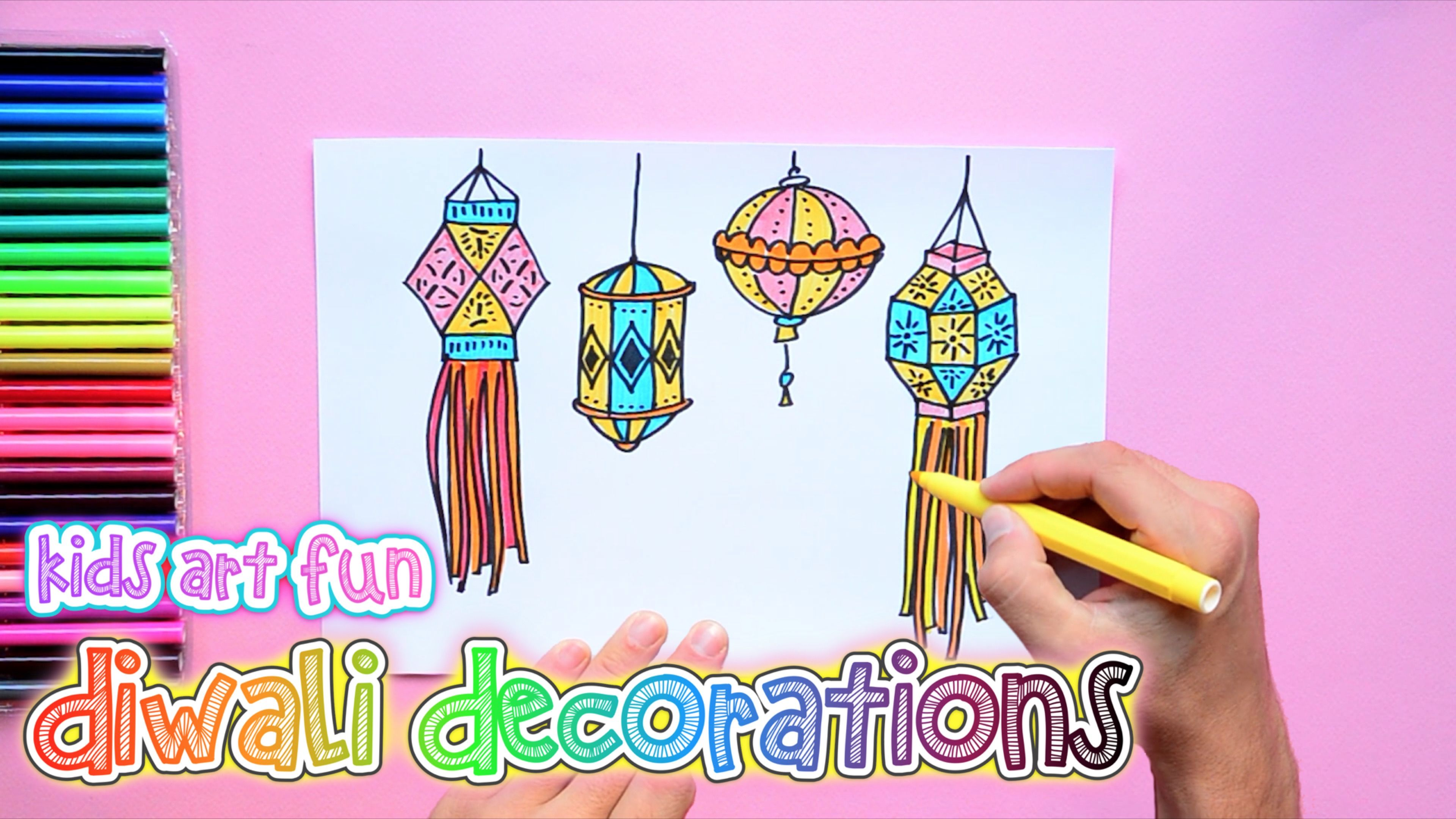 How To Draw And Color Diwali Decorations