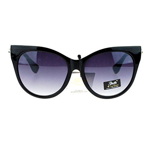 a397c292e5 Giselle Brand Womens Retro Oversized Cat Eye Fashion Sunglasses All Black      Check out