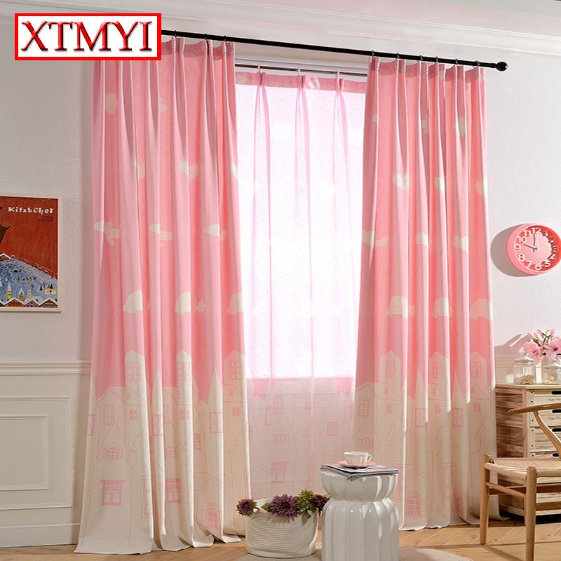 Kids cartoon curtains for bedroom girls pink/blue window curtains ...