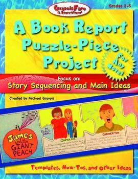 a book report puzzle piece project for any novel focus on story sequencing