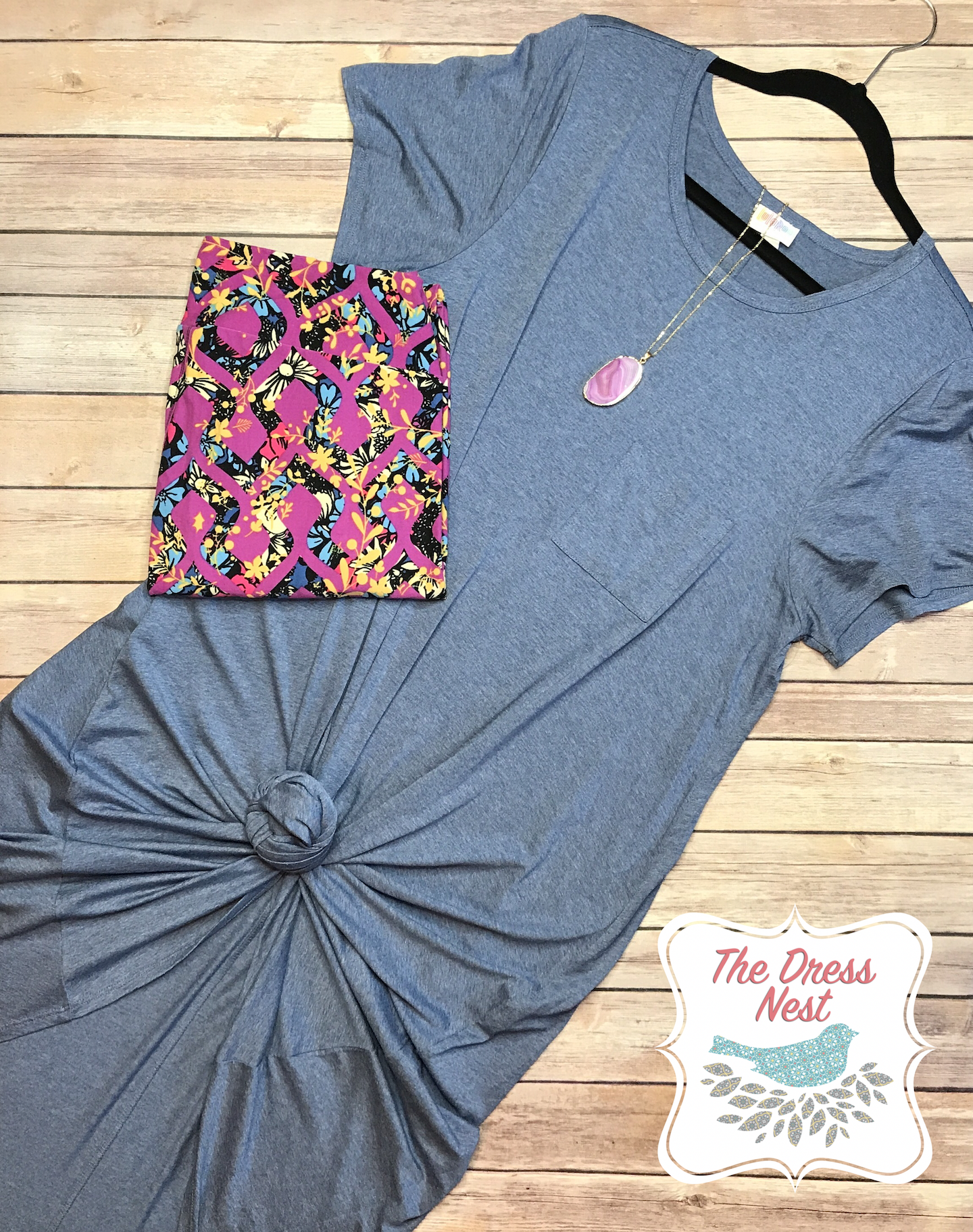 LuLaRoe outfit flay lay with the Carly dress and Leggings