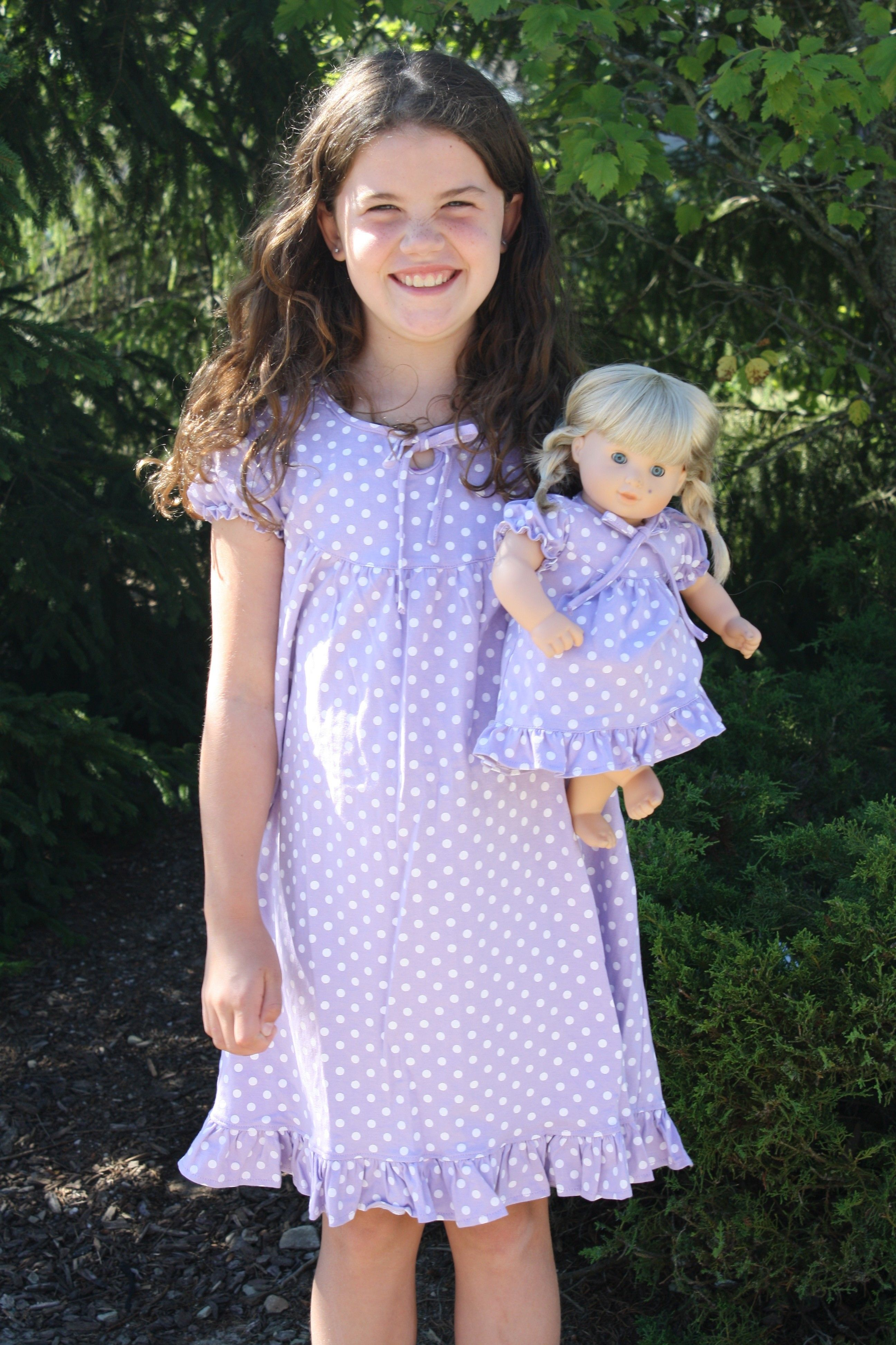 Short Sleeve Purple Polka Dot Nightgown Matching for Girl and ...