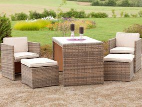 Balkonmobel Lounge Set Merano Savannagrau 11 Teilig Kleine Balkone Aussenmobel Kleiner Balkon Design