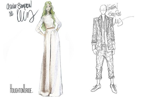 Brides: Sketches of Ashlee Simpson's Houghton Wedding Dress and Reception Outfits