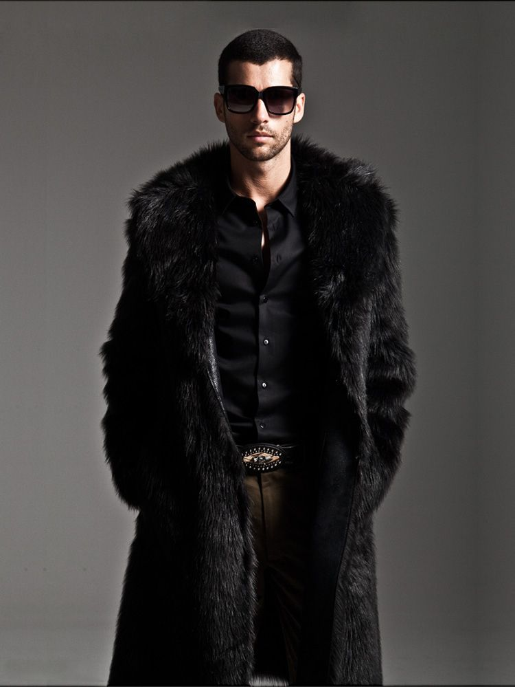 daec892cb7d Winter Large Size Turn-Down Collar Men Faux Mink Fur Coat Mink Overcoat Male …